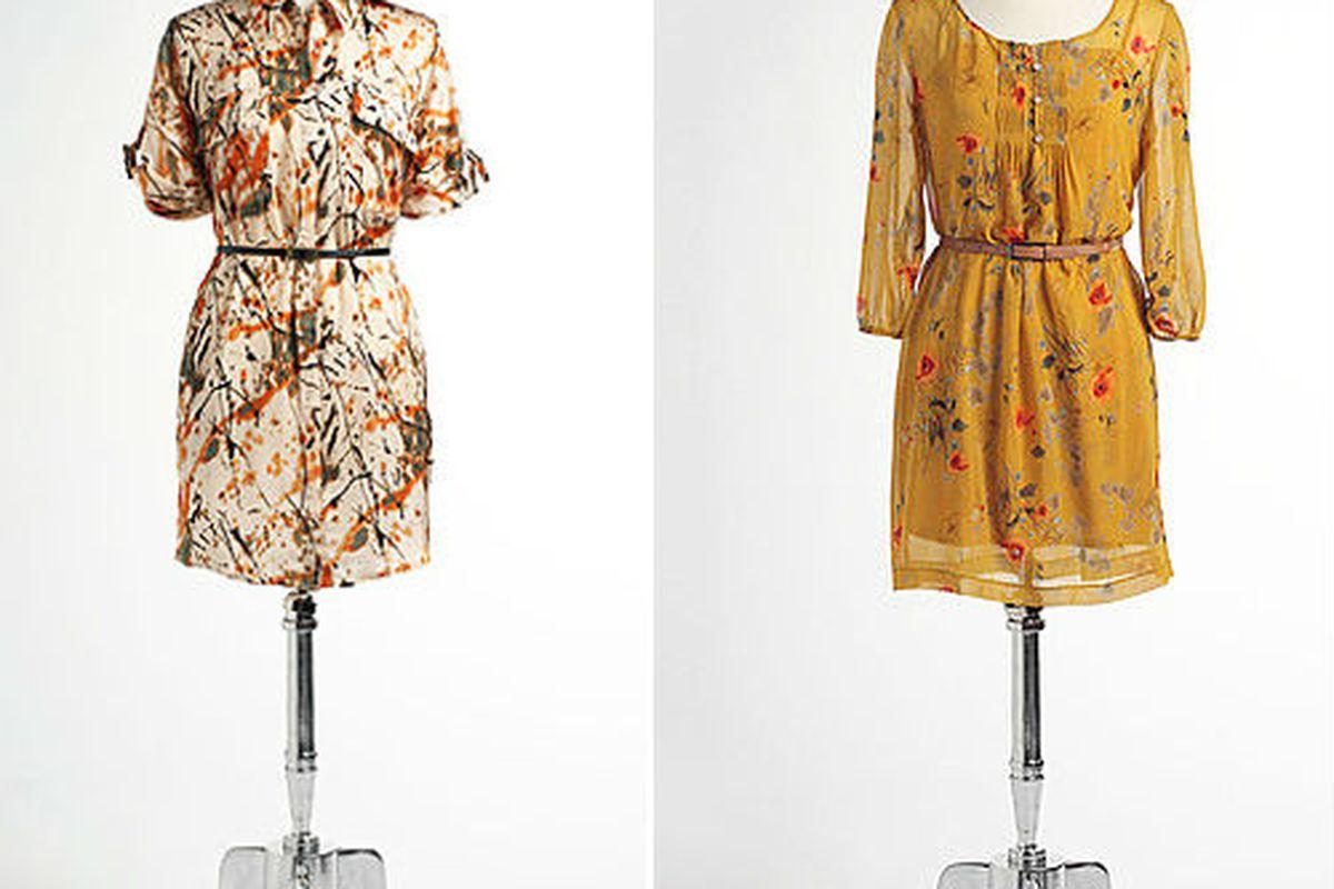 """Kensie <a href=""""http://www.lordandtaylor.com/eng/womensapparel-dresses-Splatter_Print_Belted_Shirtdress-lordandtaylor/211348"""">splatter dress, $65.99 (was $88) and </a><a href=""""http://www.lordandtaylor.com/eng/womensapparel-dresses-Belted_Floral_Prin"""