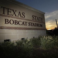 """In this photo taken Aug. 23, 2012, the entrance to Texas State's Bobcat Stadium is seen on the campus of Texas State in San Marcos, Texas. Five programs """""""" Georgia State, Texas-San Antonio, South Alabama, Massachusetts and Texas State """""""" are at various stages in the two-year transition process to the top-tier Football Bowl Subdivision this season."""