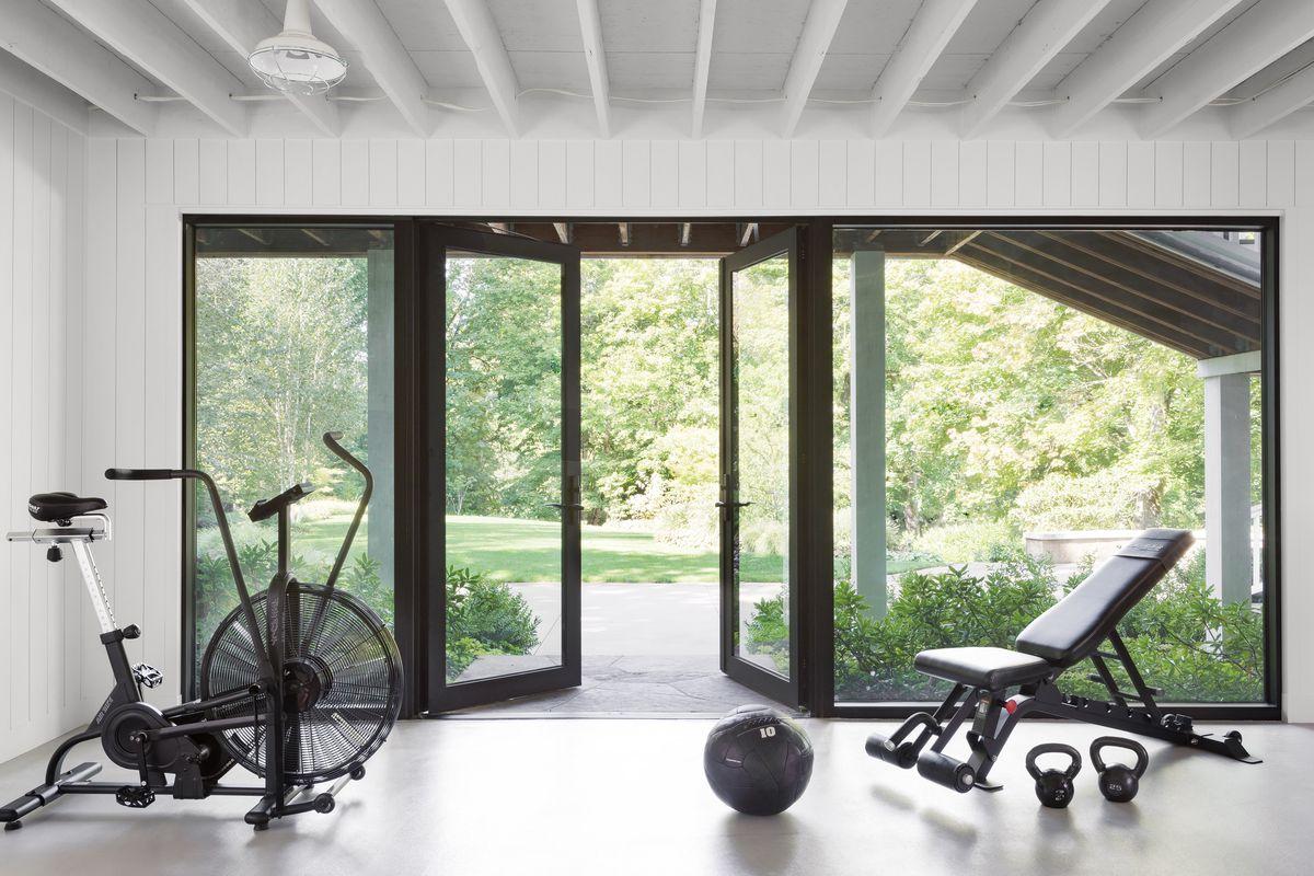 basement remodel in Portland OR, basement gym/sliding door, Loft-Like Lower Level, Sep/Oct 2020