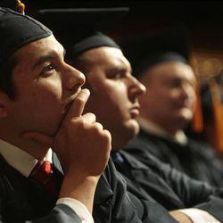 Graduates listen to the commencement address by Elder M. Russell Ballard.