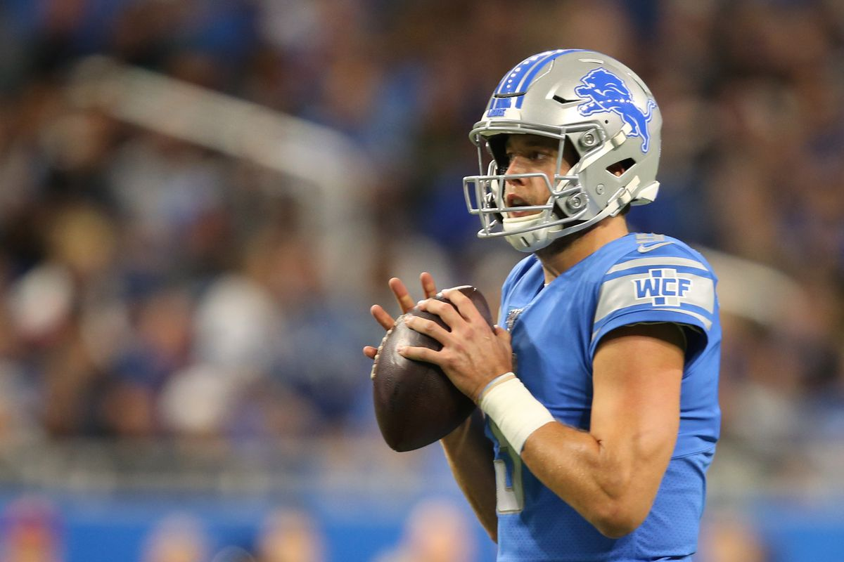 Detroit Lions quarterback Matthew Stafford looks to pass during the first half of an NFL football game against the Minnesota Vikings in Detroit, Michigan USA, on Sunday, October 20, 2019.