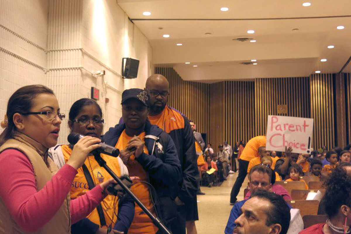 Success Academy parents testify at an April Panel for Educational Policy meeting.
