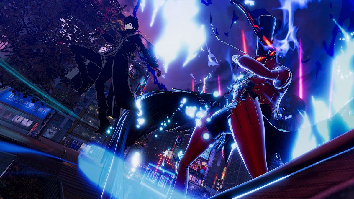 Joker and his Persona stand in a screenshot from Persona 5 Strikers
