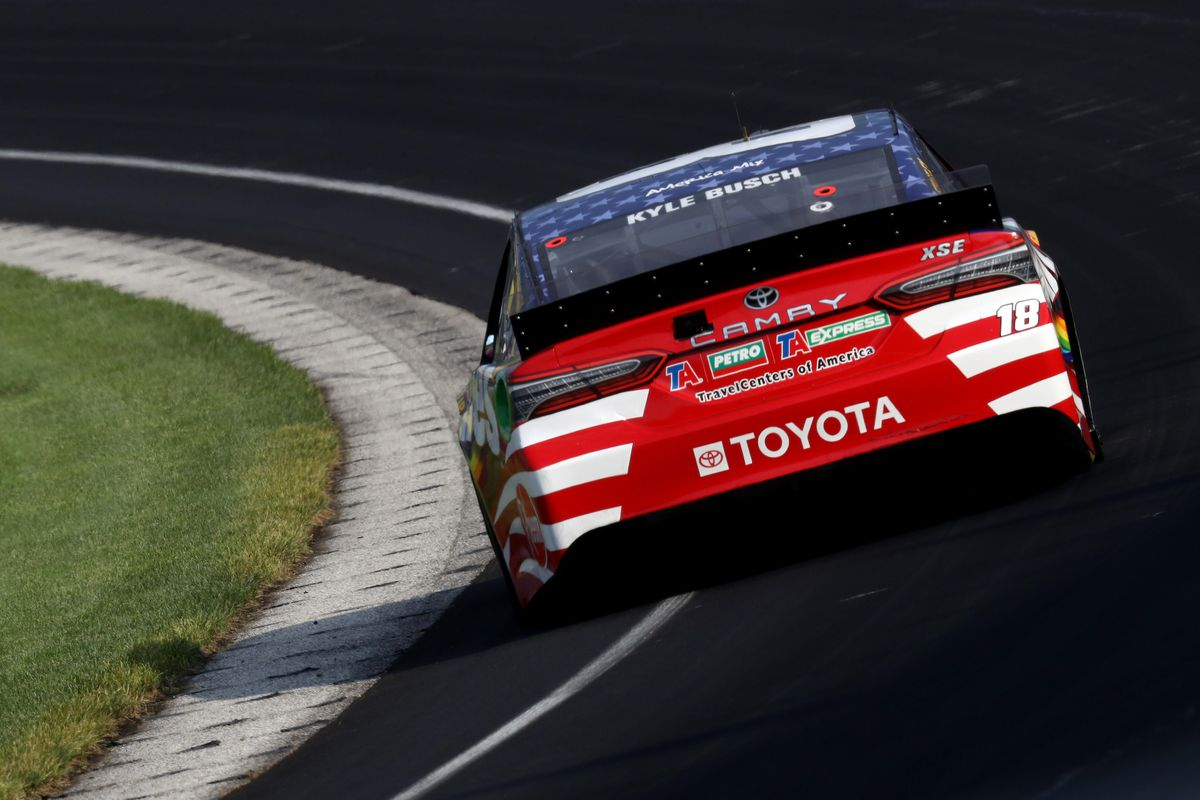 Kyle Busch, driver of the #18 Skittles Red White & Blue Toyota, drives during the NASCAR Cup Series Big Machine Hand Sanitizer 400 Powered by Big Machine Records at Indianapolis Motor Speedway on July 05, 2020 in Indianapolis, Indiana.