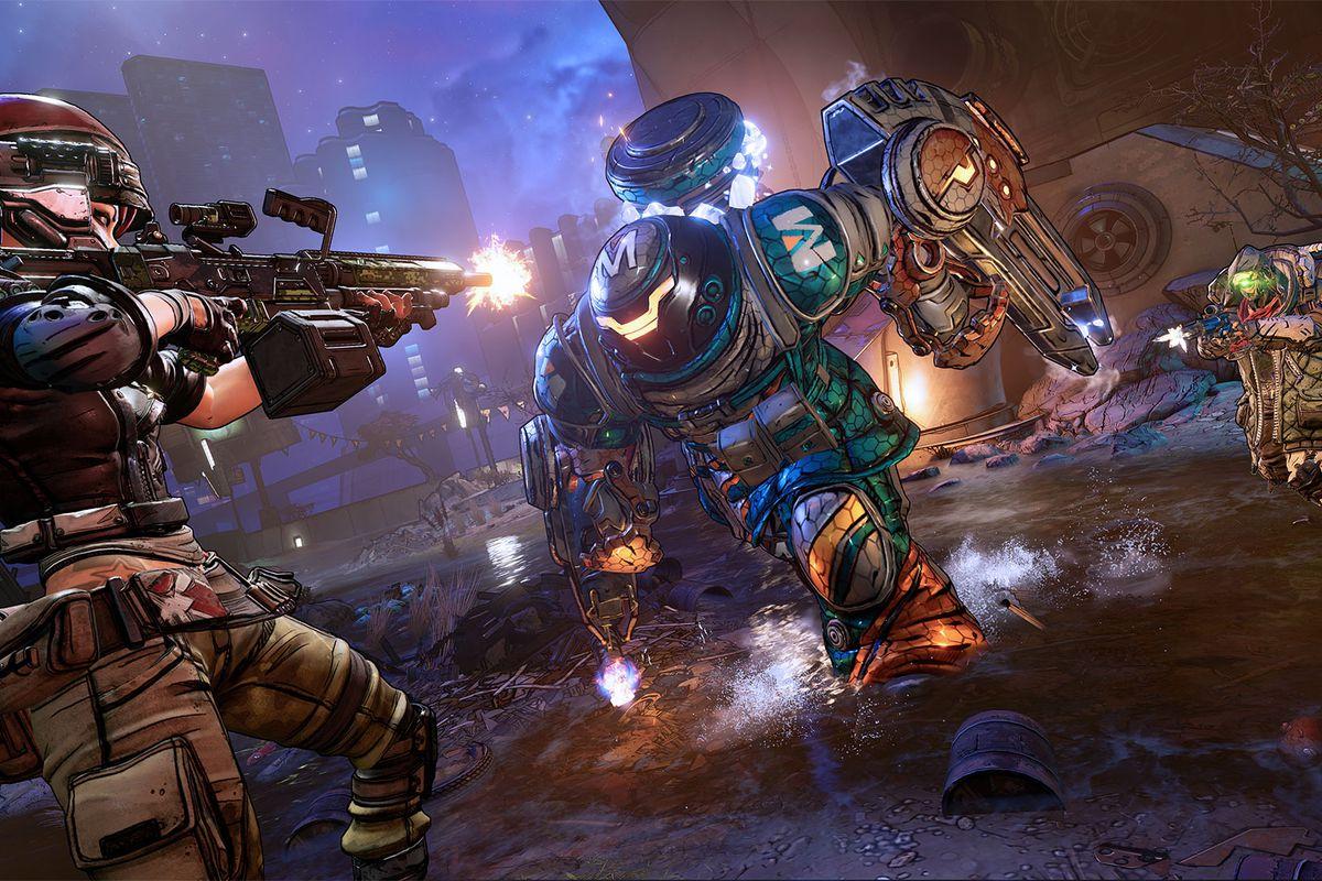 A Borderlands 3 Vault Hunter shooting a gun at an enemy