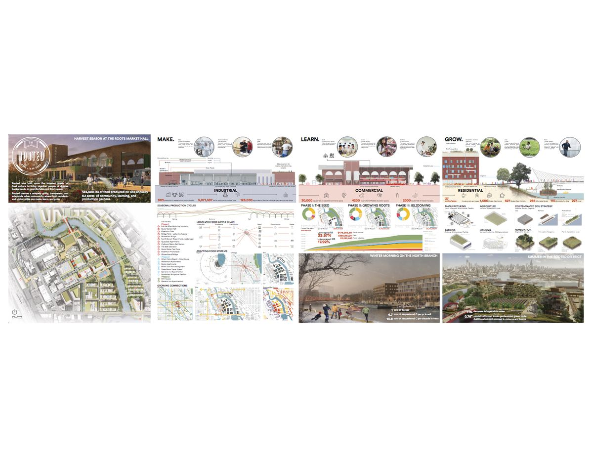 A bunch of different views and renderings of urban redevelopment plans
