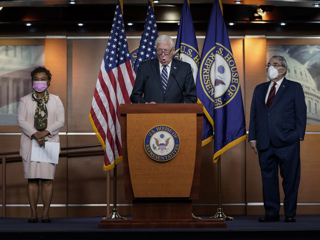 House Democrats in 2020, including (L-R) Rep. Barbara Lee (D-Calif.), Rep. G.K. Butterfield (D-N.C.) and House Majority Leader Rep. Steny Hoyer (D-Md.), introduced a bill that would replace the bust of former Supreme Court Chief Justice Roger B. Taney in the Old Supreme Court Chamber at the U.S. Capitol with one of former Justice Thurgood Marshall. Taney was the author of the 1857 Dred Scott decision that declared African Americans couldn't be citizens. The measure passed the House on Tuesday.