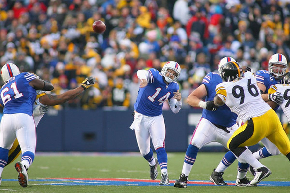ORCHARD PARK NY - NOVEMBER 28: Ryan Fitzpatrick #14 of the Buffalo Bills throws against the Pittsburgh Steelers at Ralph Wilson Stadium at Ralph Wilson Stadium on November 28 2010 in Orchard Park New York.  (Photo by Rick Stewart/Getty Images)