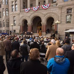 Newly inaugurated Salt Lake Mayor Jackie Biskupski speaks at a ceremony outside the City-County Building on Monday, Jan. 4, 2016.