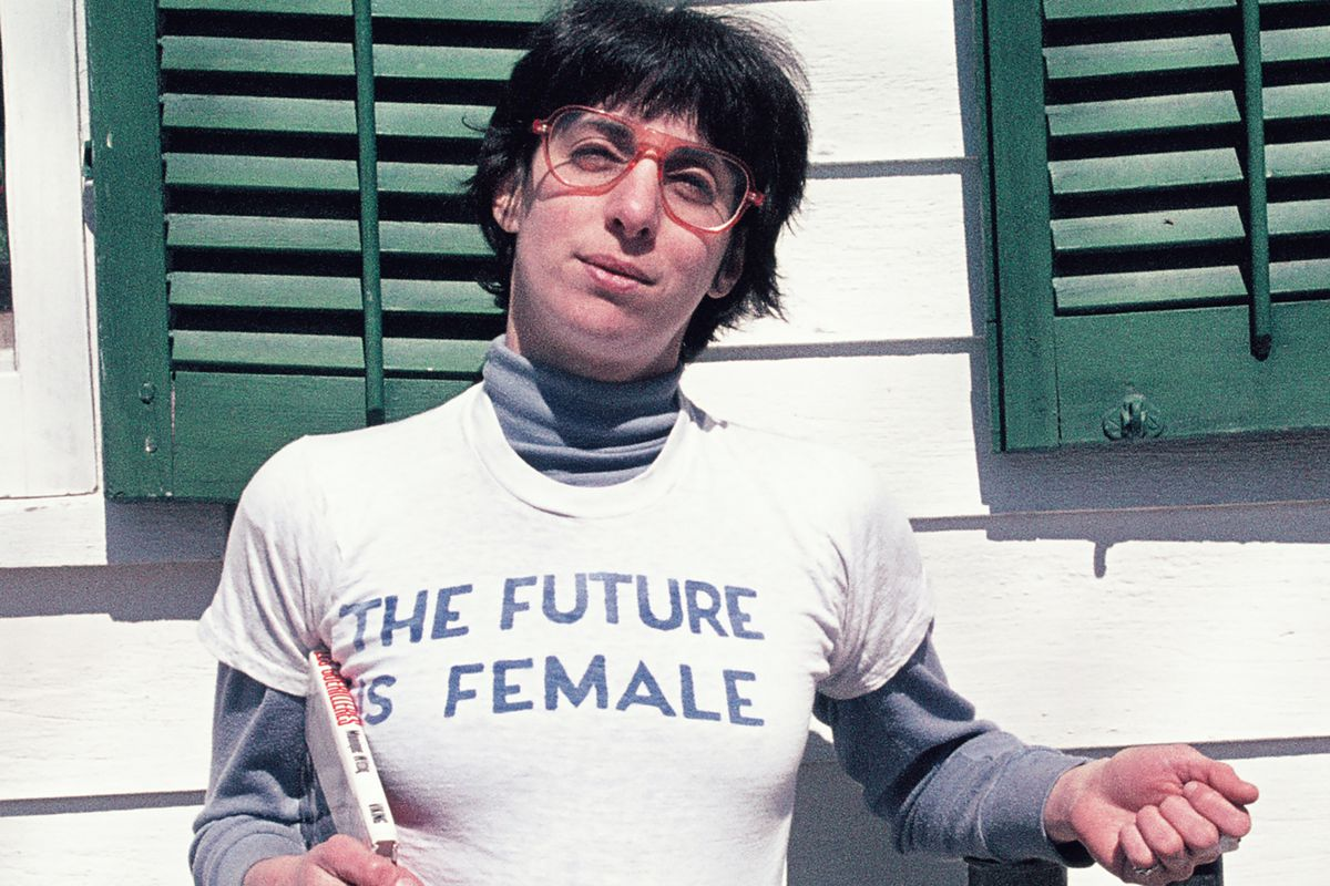 """Alix Dobkin poses in a t-shirt that reads """"The Future is Female"""" in Preston Hollow, New York, in 1975. Dobkin, the lesbian singer and feminist activist, died in her home from a brain aneurysm and stroke."""