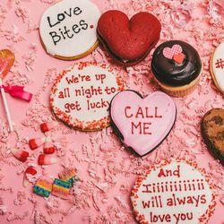 Georgetown Cupcakes Valentine's Day Dozen, $32; Tribeca Treats Cheesy Love Song cookies, $3; Tribeca Treats Candy Heart cookies, $3; Tribeca Treats Red Velvet whoopie pies, $2.50; Tribeca Treats Heart-Shaped fudgy brownies, $3