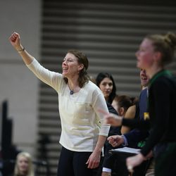 Utah Valley Head Coach Cathy Nixon directs her team in the game against CSU Bakersfield in the 2017 WAC Tournament quarterfinals at Orleans Arena in Las Vegas on Wednesday, March 8, 2017.