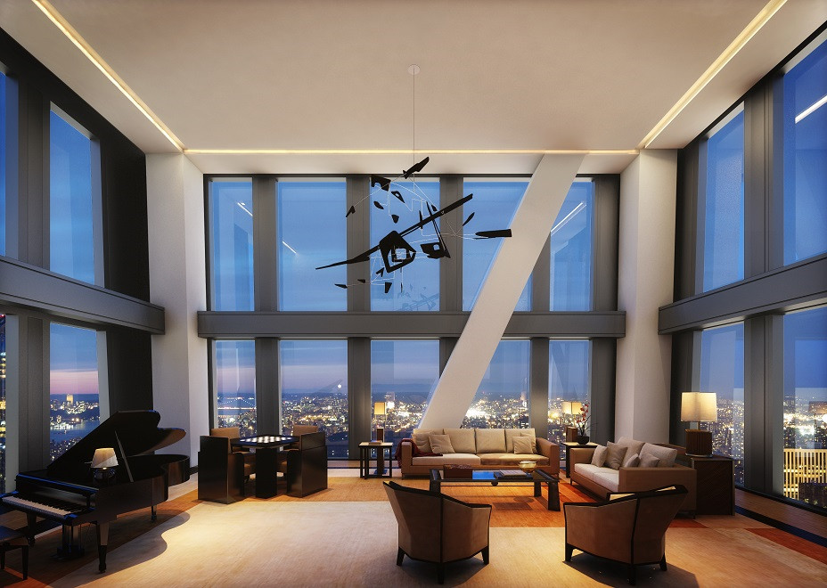 A living area. There are multiple chairs and a large piano. There are floor to ceiling windows overlooking the city skyline.