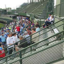 6:28 p.m. View from the top row of the right-field bleachers -