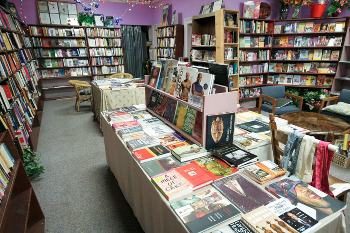 """These bookshelves were destroyed, but Marcus Books hopes to rebuild. Photo via <a href=""""http://www.marcusbookstores.com/"""">Marcus Books</a>"""