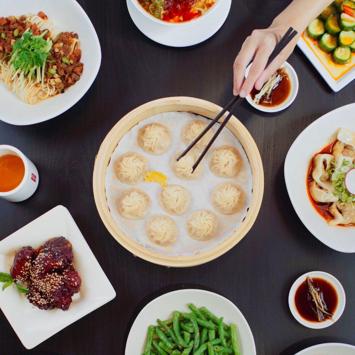 Soup dumplings in a basket