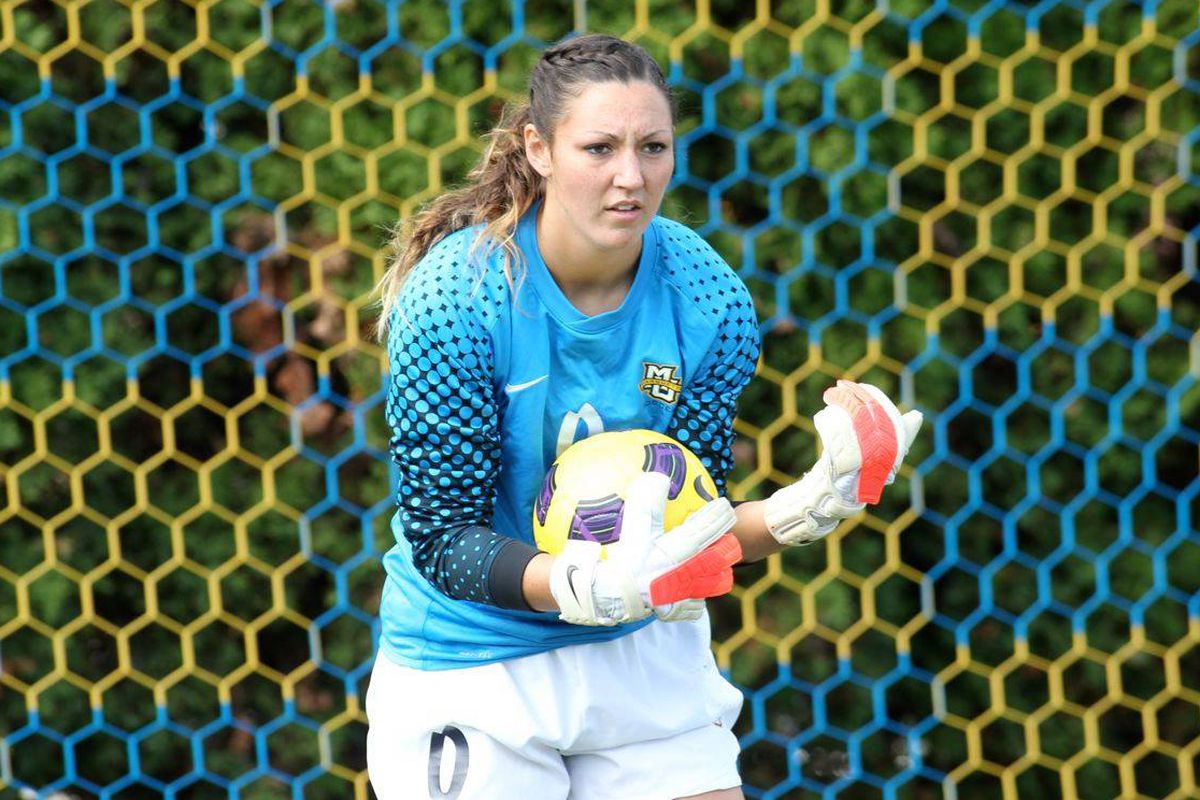 Keeper Amanda Engel faced shots on goal against DePaul for the first time in three matches.