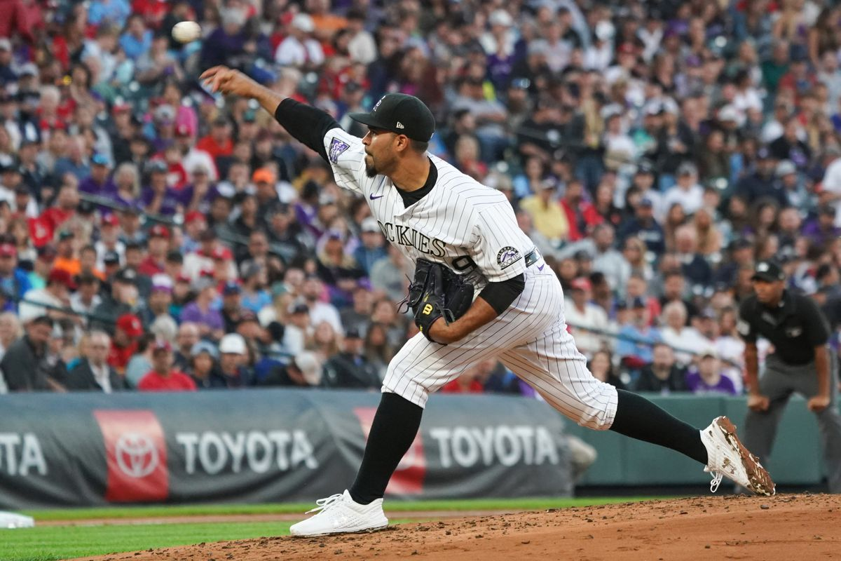 Colorado Rockies starting pitcher Antonio Senzatela (49) delivers a pitch in the the second inning against the St. Louis Cardinals at Coors Field.