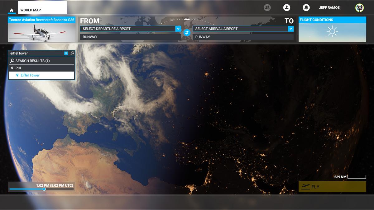 Searching for a landmark in Microsoft Flight Simulator