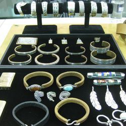 Self Edge jewelry made in New Mexico of sterling silver, rawhide and copper.