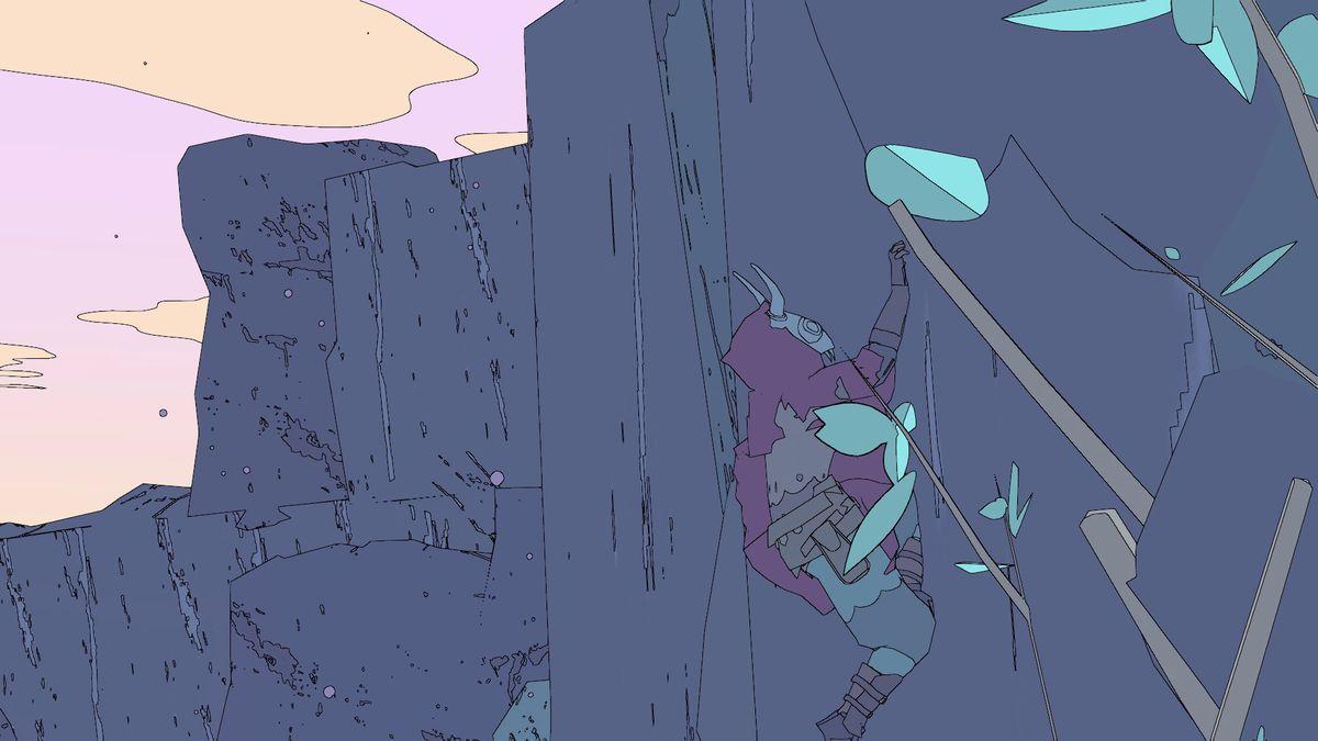 Sable - escalando o lado da tela da montanha