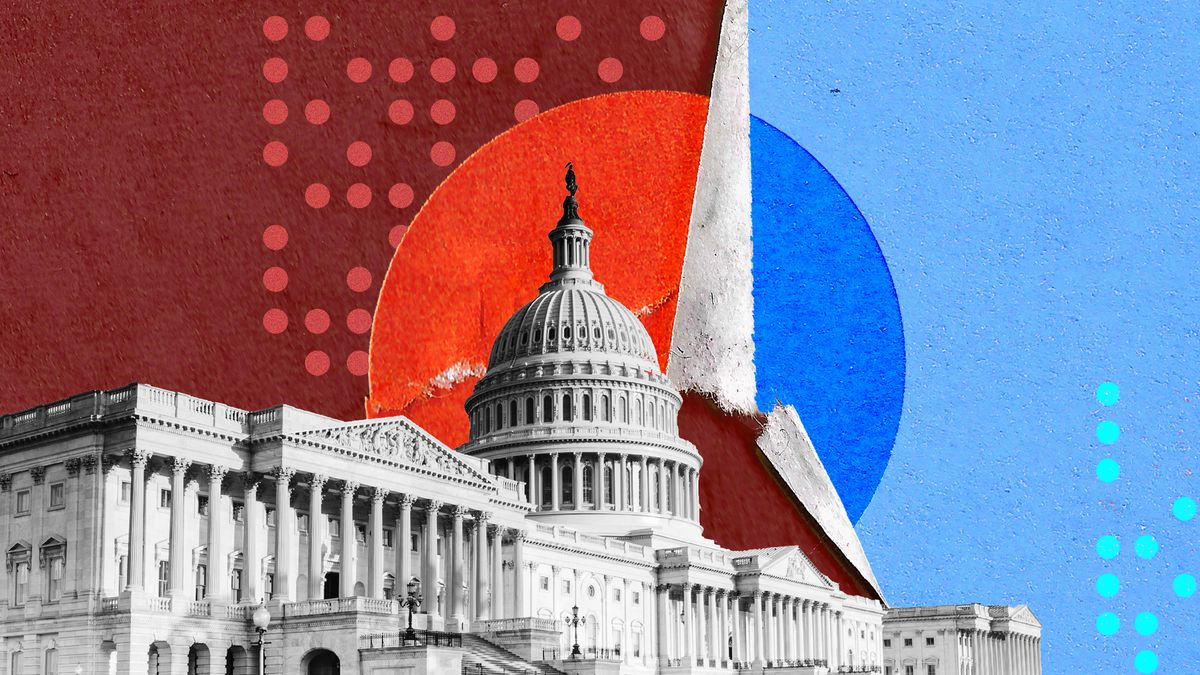 Photo illustration of the US Capitol building with a red and blue background.