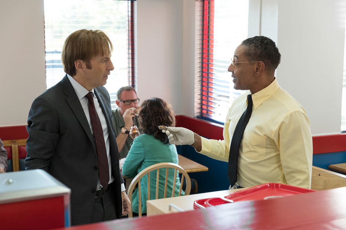 Better Call Saul 302 - Gus Fring hands Jimmy McGill's watch to him after fishing it out of the garbage