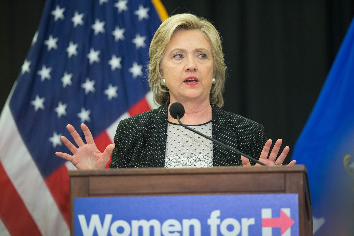Democratic presidential candidate Hillary Clinton speaks to guests gathered for a campaign event at the University of Wisconsin Milwaukee on September 10, 2015, in Milwaukee, Wisconsin.