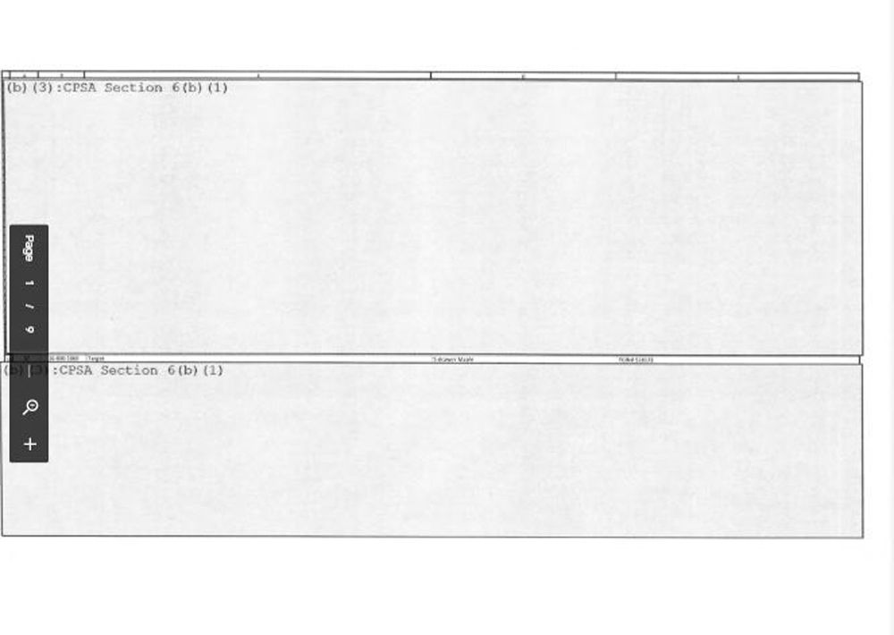 """One of the completely redacted documents Kids in Danger received in response to its Freedom of Information Act request for dresser test results. The document is marked """"Section 6(b)"""" to explain the lack of information."""