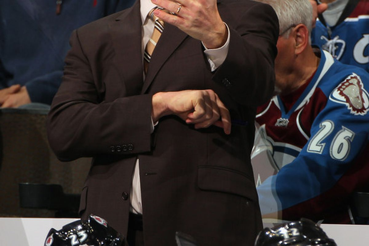 DENVER, CO - DECEMBER 27:  Head coach Joe Sacco of the Colorado Avalanche leads his team against the Winnipeg Jets at the Pepsi Center on December 27, 2011 in Denver, Colorado.  (Photo by Doug Pensinger/Getty Images)