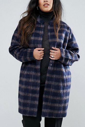 Plus size plaid coat