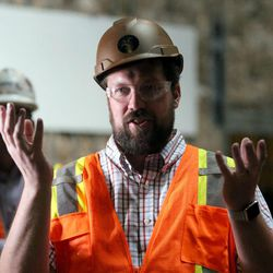 Kacey Udy, set designer, speaks on a tour of the soon-to-be-completed Hale Centre Theatre in Sandy on Wednesday, Aug. 9, 2017.