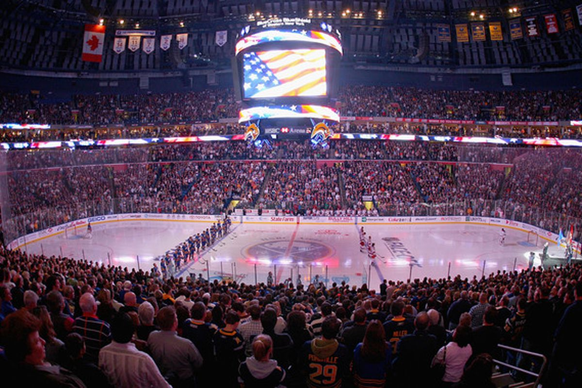 BUFFALO, NY - OCTOBER 09: Players for the Buffalo Sabres and the New York Rangers line up for the national anthems prior to play at HSBC Arena on October 9, 2010 in Buffalo, New York.  (Photo by Rick Stewart/Getty Images)