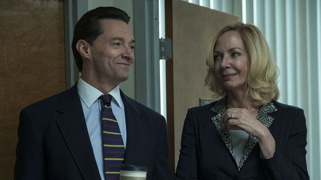 hugh jackman and allison janney in bad education, smirking