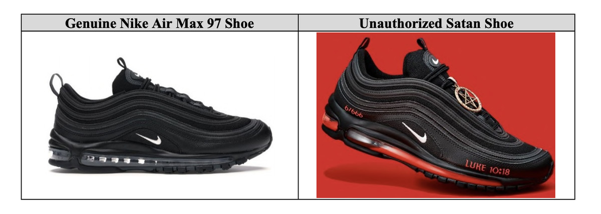 "Nike's legal exhibit distinguishing standard Nike shoe from ""unauthorized Satan Shoe"""