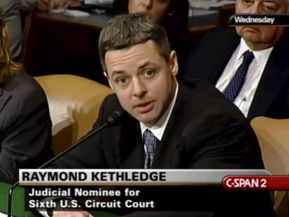 In this May 7, 2008, image from video provided by C-SPAN, Raymond Kethledge testifies during his confirmation hearing for the Sixth U.S. Circuit Court on Capitol Hill in Washington.   C-SPAN via AP