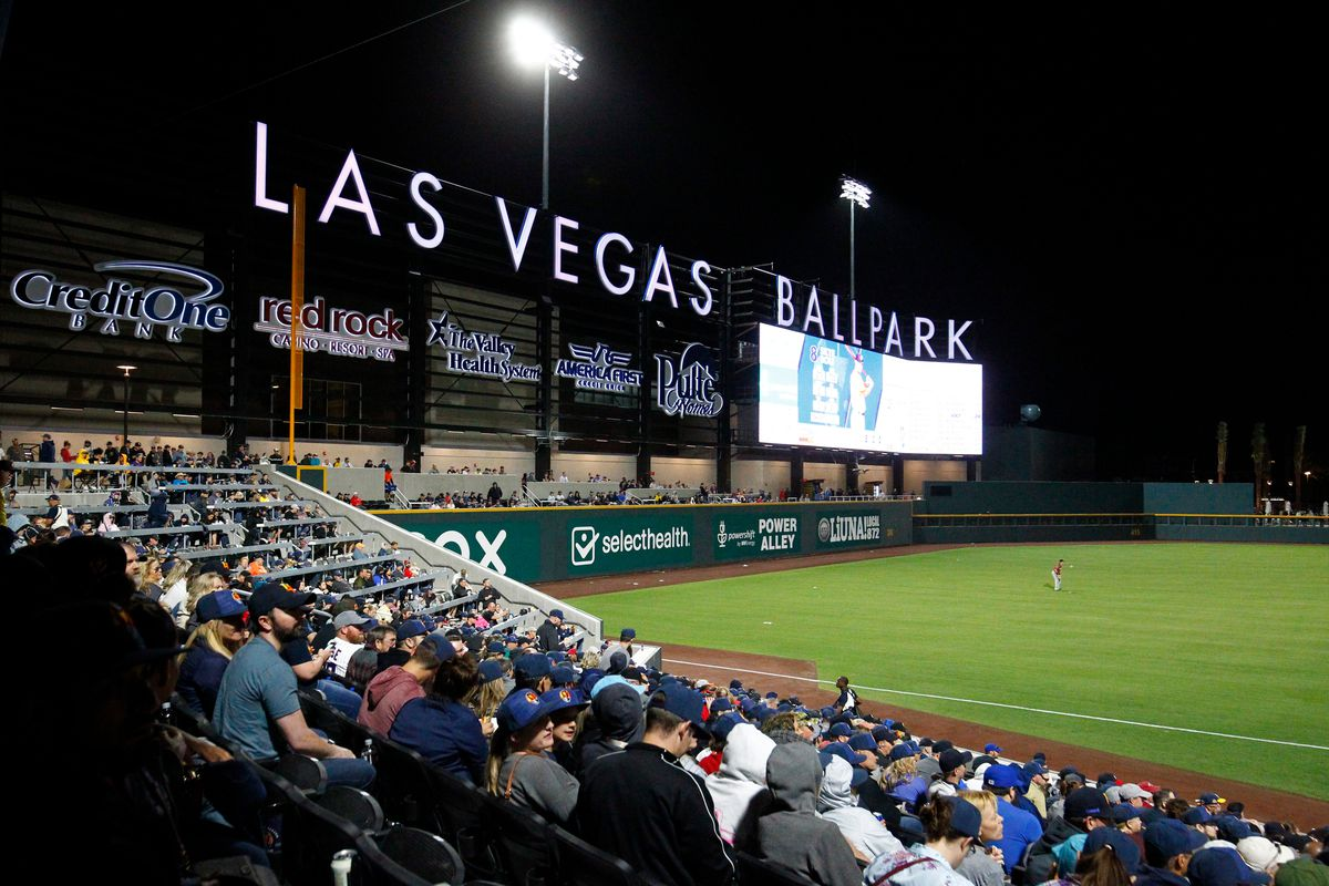 General view of the field and fans in the grandstands during a regular season game between the Sacramento River Cats and the Las Vegas Aviators on April 9, 2019 at Las Vegas Ballpark in Las Vegas, Nevada.