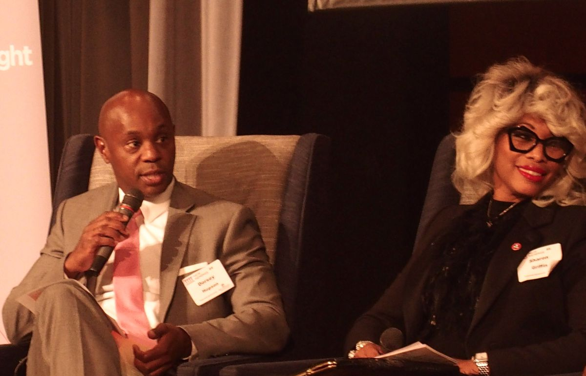 Superintendent Dorsey Hopson, left, and Sharon Griffin, the chief of the state-run Achievement School District spoke at a panel in October hosted by Chalkbeat and New Memphis.