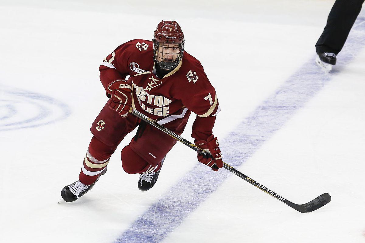 BC freshman defenseman and 2015 NHL Draft prospect Noah Hanifin assisted on both Eagle goals.