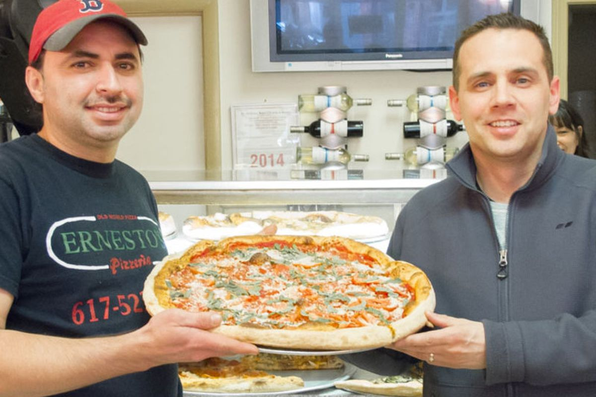 Pizza maker Juan Ventura and owner Anthony Radzikowski at Ernesto's in the North End