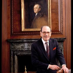 In this 1992 photo, Arthur Ochs Sulzberger poses for a photo in the New York Times boardroom beneath a picture of Arthur Ochs, in New York. In 1896, Ochs acquired control of the New York Times. Former New York Times publisher Sulzberger, who led the newspaper to new levels of influence and profit amid some of the most significant moments in 20th-century journalism, died Saturday, Sept. 29, 2012. He was 86.