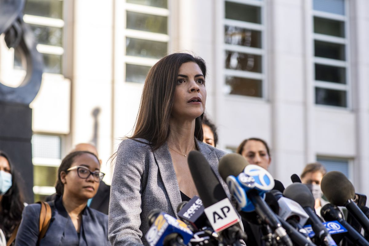 U.S. Attorney Jacquelyn Kasulis speaks to the press on the guilty verdict of R. Kelly at the Brooklyn Federal Court House on Monday, Sept. 27, 2021, in New York.
