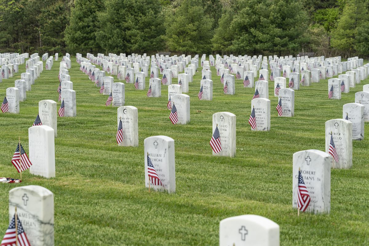 View of Calverton National Cemetery for veterans during...