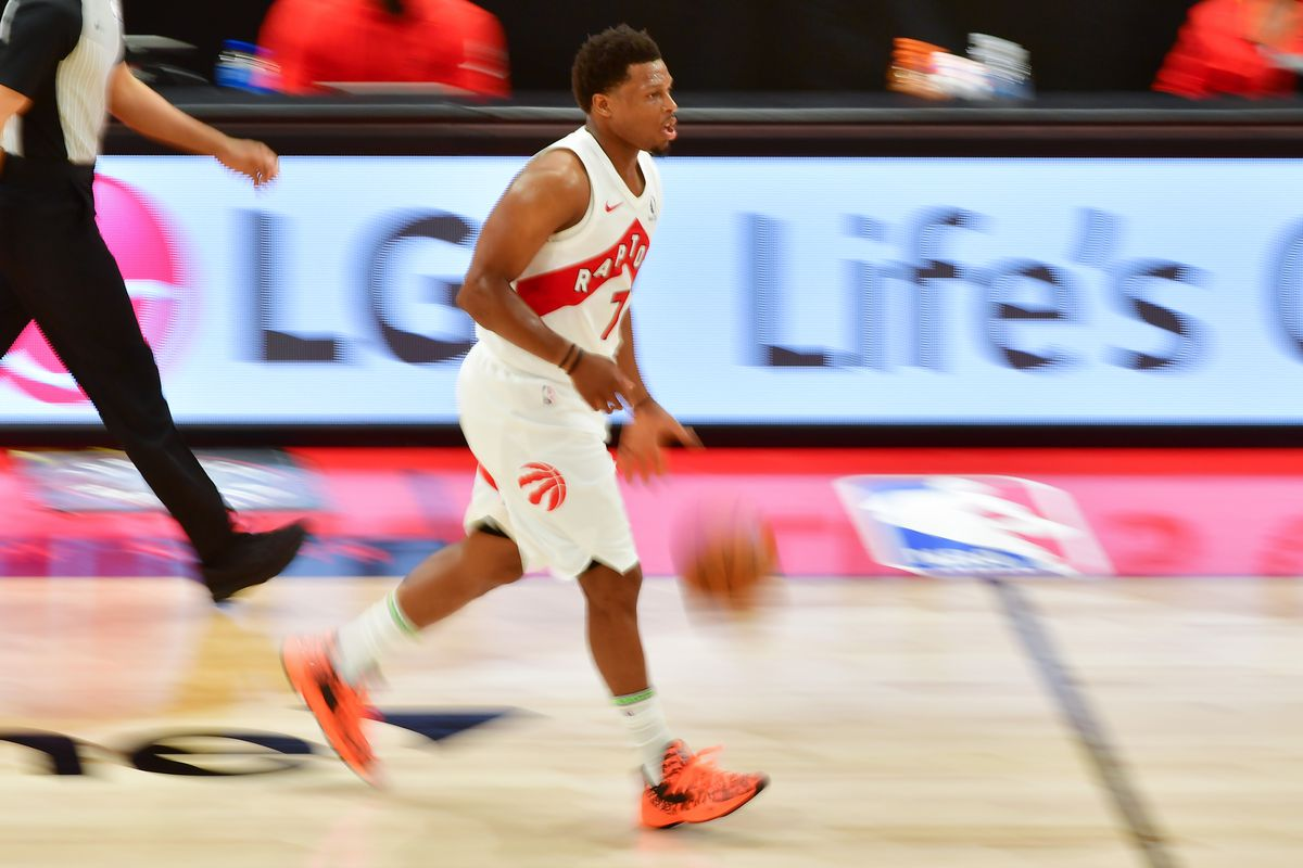 Kyle Lowry of the Toronto Raptors dribbles during the second half against the Minnesota Timberwolves at Amalie Arena on February 14, 2021 in Tampa, Florida.