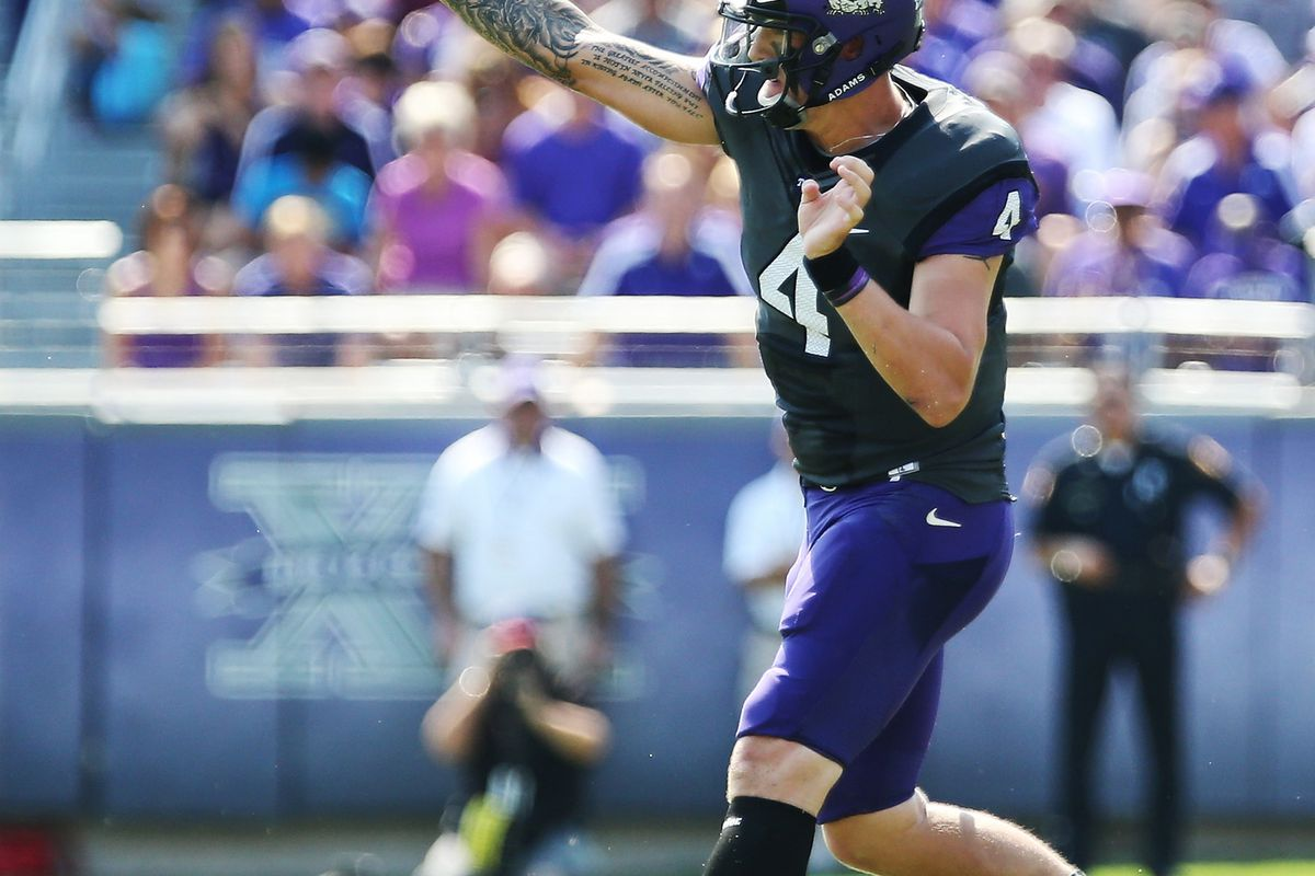 Sep 22, 2012; Fort Worth, TX, USA; TCU Horned Frogs quarterback Casey Pachall (4) throws a pass during the first quarter against the Virginia Cavaliers at Amon G. Carter Stadium.  Mandatory Credit: Kevin Jairaj-US PRESSWIRE