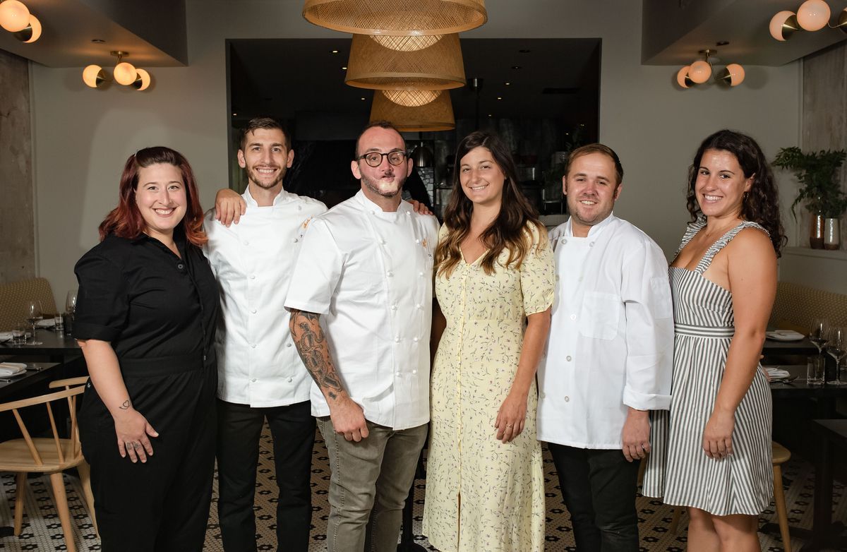 The opening team of Forsythia: Pastry Chef Laura Frangiosa, Executive Sous Chef Zach Letendre, Executive Chef/Owner Christopher Kearse, GM Jennifer Camela,Sr. Sous Mike Gingras, AGM Allison Doyle
