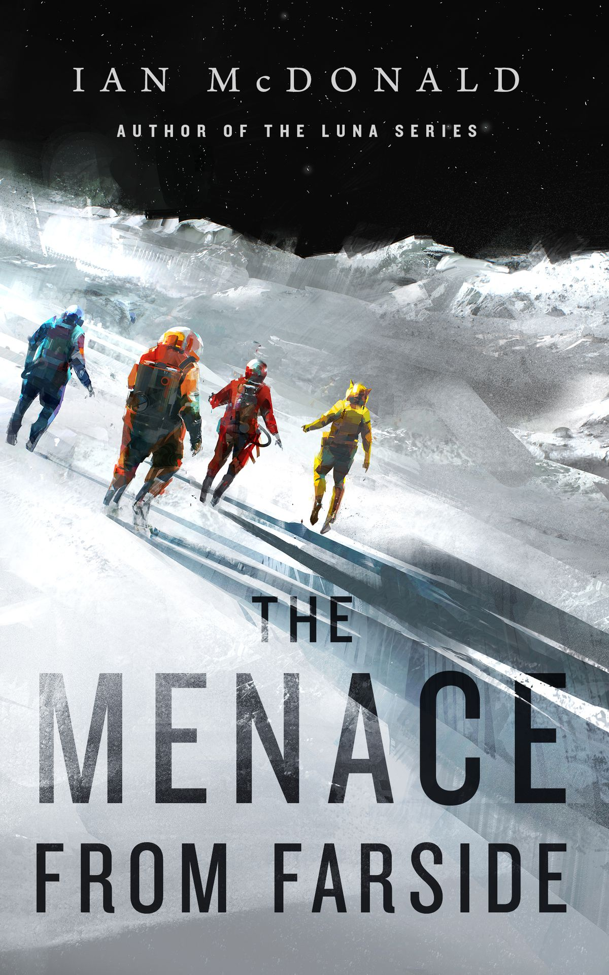 The Menace from Farside cover has four people in space suits walking on an ice planet