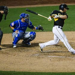 Salt Lake Bees shortstop Nolan Fontana swings at a pitch during a game against the Las Vegas 51s at Smith's Ballpark in Salt Lake City on Monday, June 5, 2017.