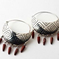 Five-spike basket earrings in sterling and jasper.