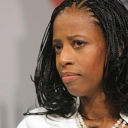 Mia Love talks with the media following a debate Tuesday, Oct. 14, 2014, with Doug Owens at the KUED studios in Salt Lake City. Love and Owens are running for the 4th District congressional seat.